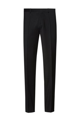 Extra-slim-fit trousers in virgin-wool poplin, Black