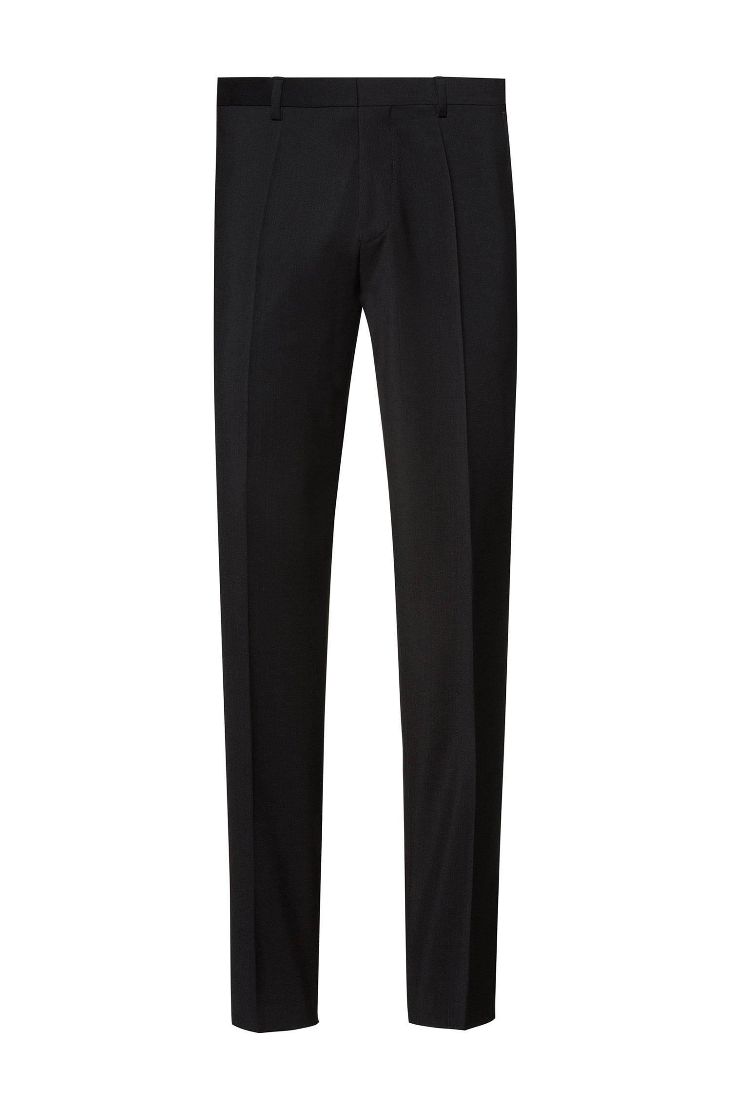 Extra-slim-fit trousers in virgin-wool poplin, Black