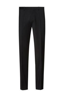 Extra slim-fit broek in popeline van scheerwol, Zwart