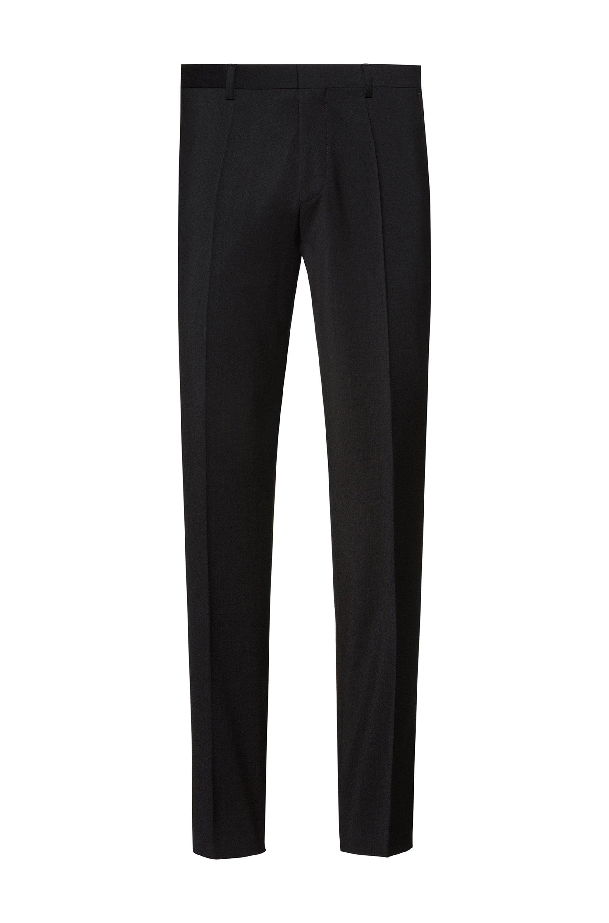 Extra Slim-Fit Hose aus Schurwoll-Popeline, Schwarz