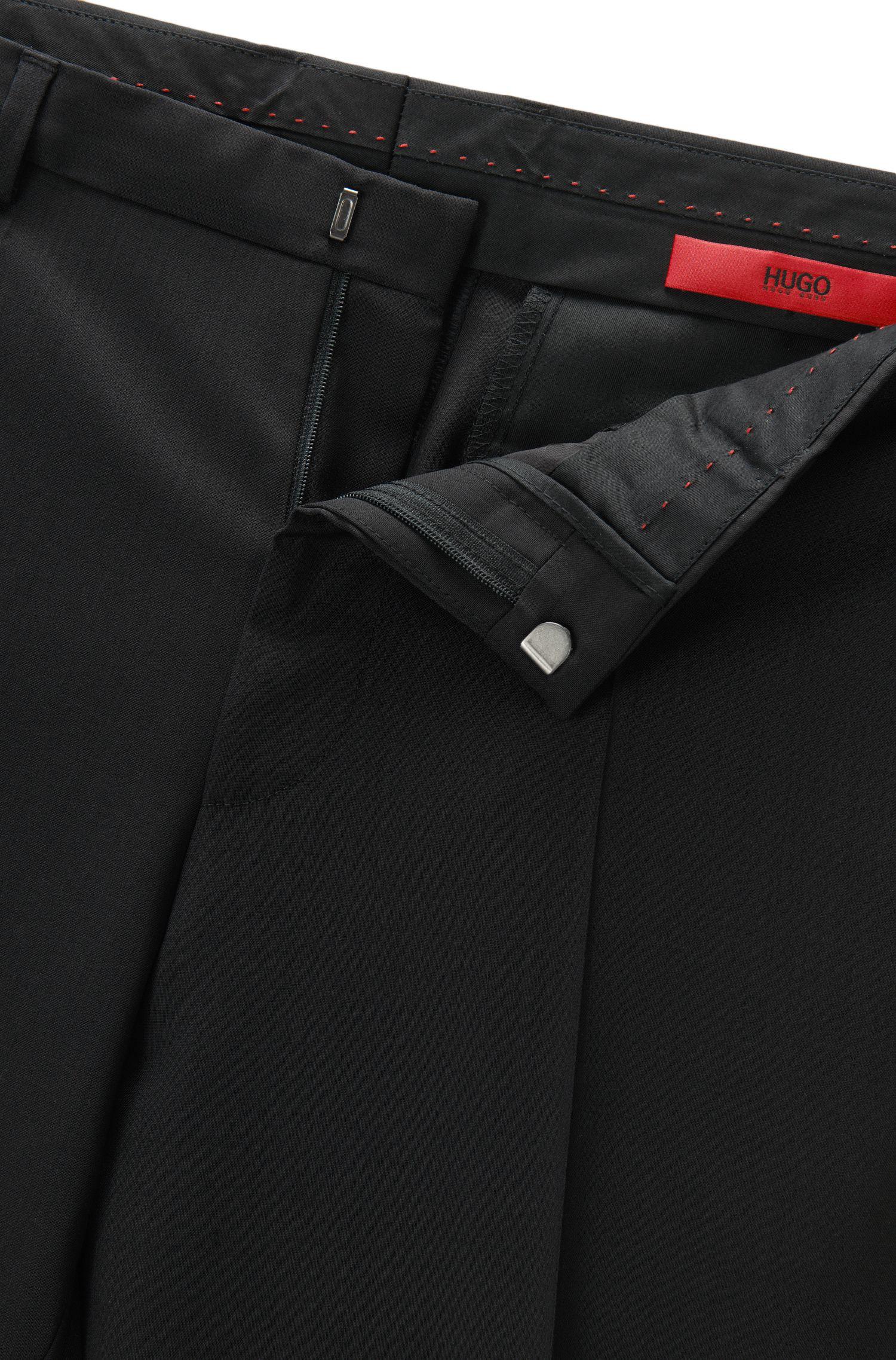 Pantalon HUGO Homme Extra Slim Fit en laine vierge, Noir