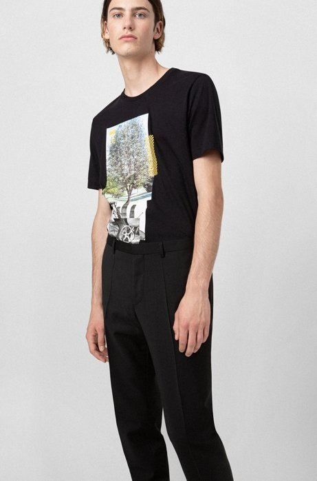 Pantaloni extra slim fit in popeline di lana vergine, Nero