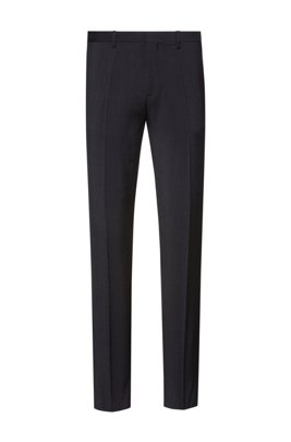 Extra-slim-fit trousers in virgin-wool poplin, Dark Grey