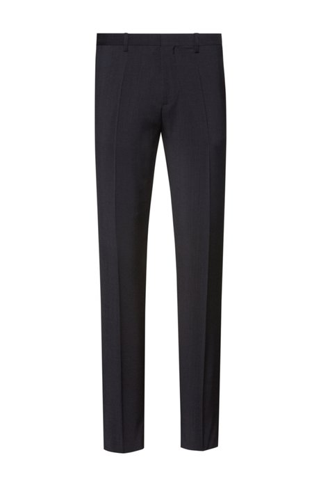 Extra-slim-fit trousers in virgin-wool poplin, Dark Grey