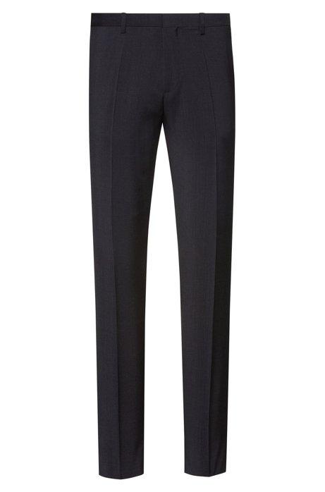 Extra slim-fit broek in popeline van scheerwol, Donkergrijs