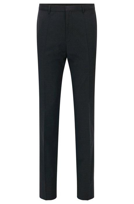 Pantalon Extra Slim Fit en popeline de laine vierge, Gris sombre