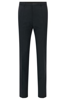 Pantaloni extra slim fit in lana vergine HUGO Uomo, Grigio scuro