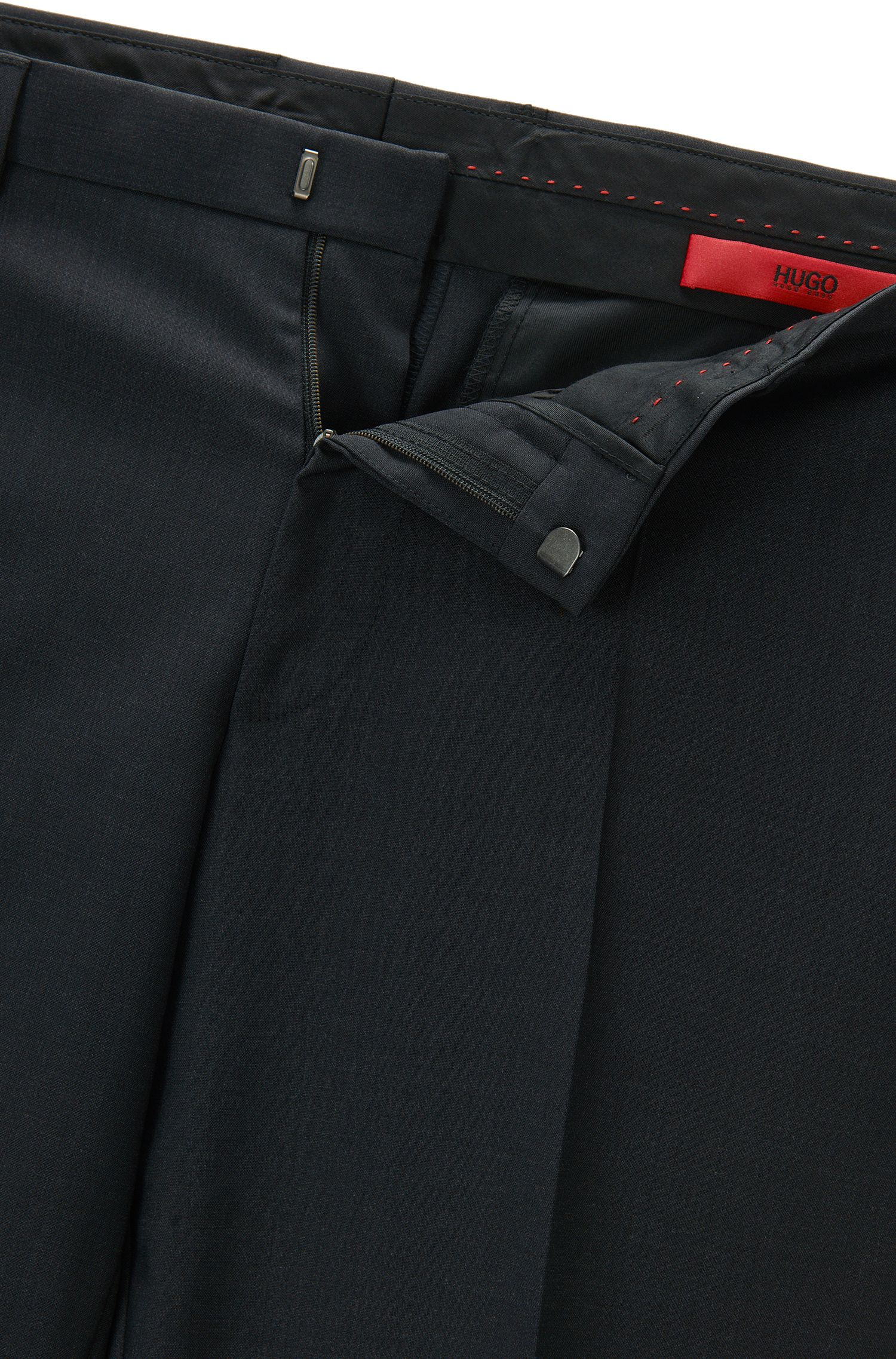 Extra Slim-Fit Hose aus Schurwolle, Dunkelgrau