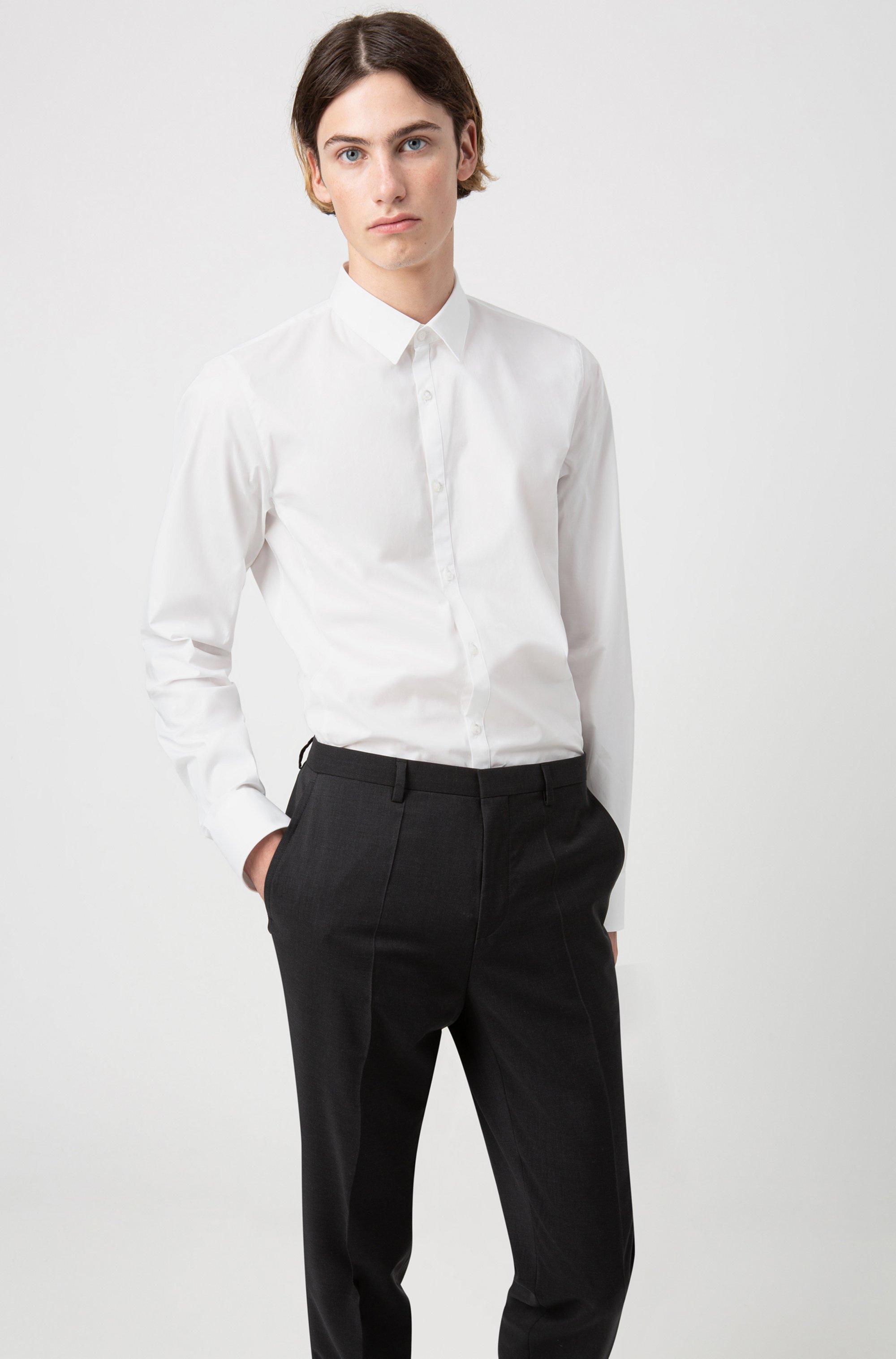 Pantaloni extra slim fit in popeline di lana vergine