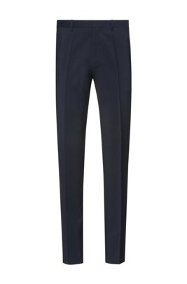 Extra-slim-fit trousers in virgin-wool poplin, Dark Blue