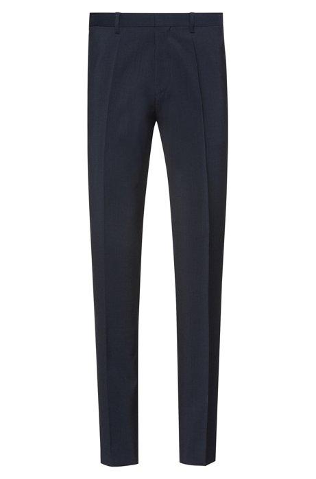 Pantalon Extra Slim Fit en popeline de laine vierge, Bleu foncé