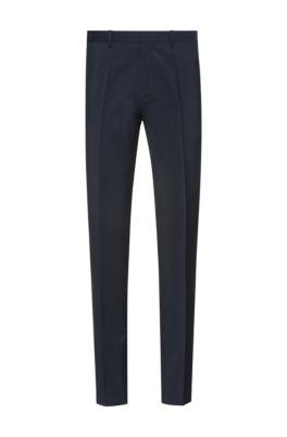 Extra slim-fit broek in popeline van scheerwol, Donkerblauw