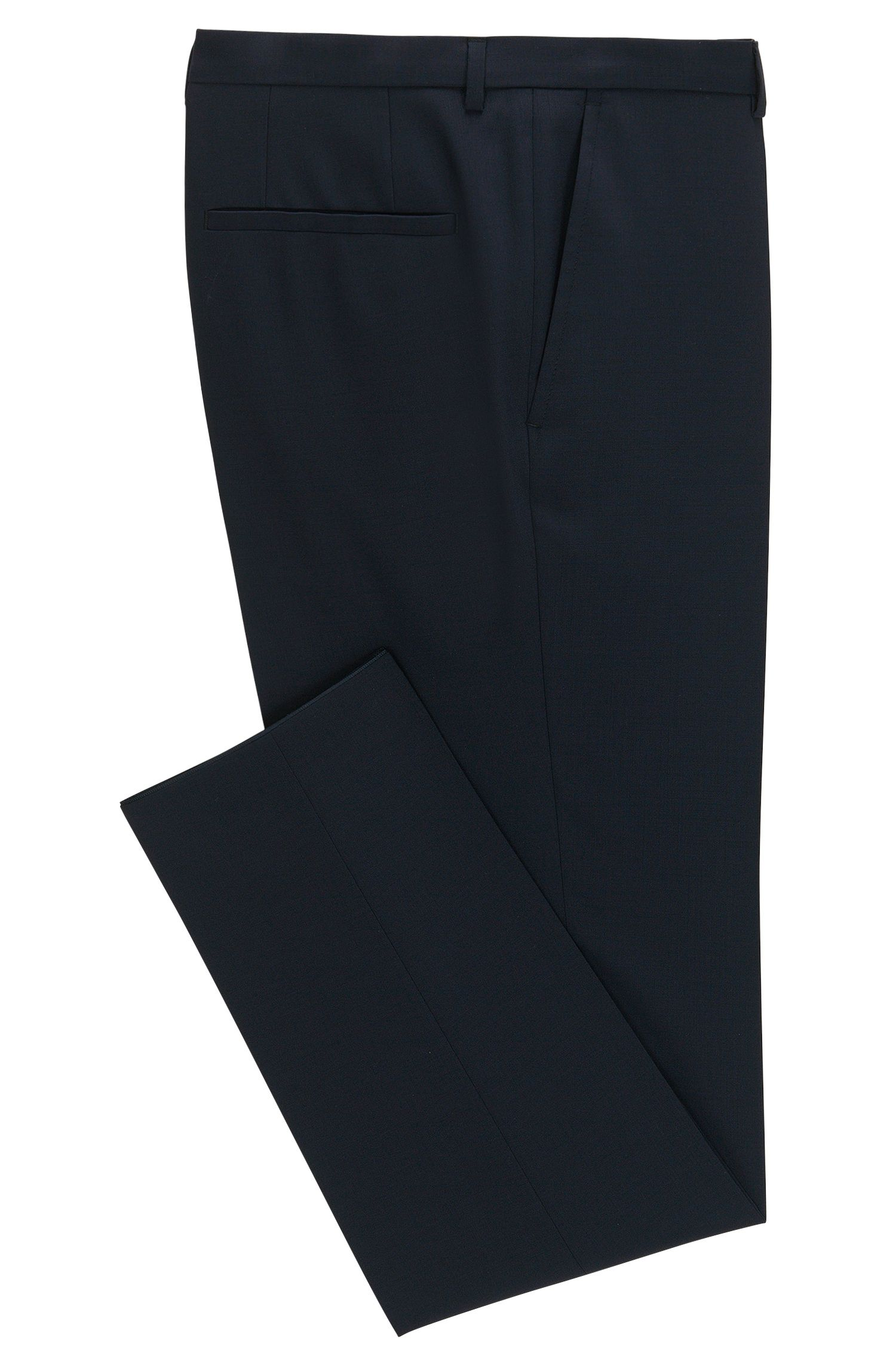 Pantaloni extra slim fit in lana vergine HUGO Uomo, Blu scuro