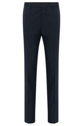 Pantalón extra slim fit en lana virgen de HUGO Hombre, Azul oscuro