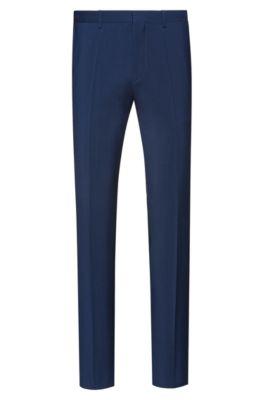 Extra slim-fit broek in popeline van scheerwol, Blauw