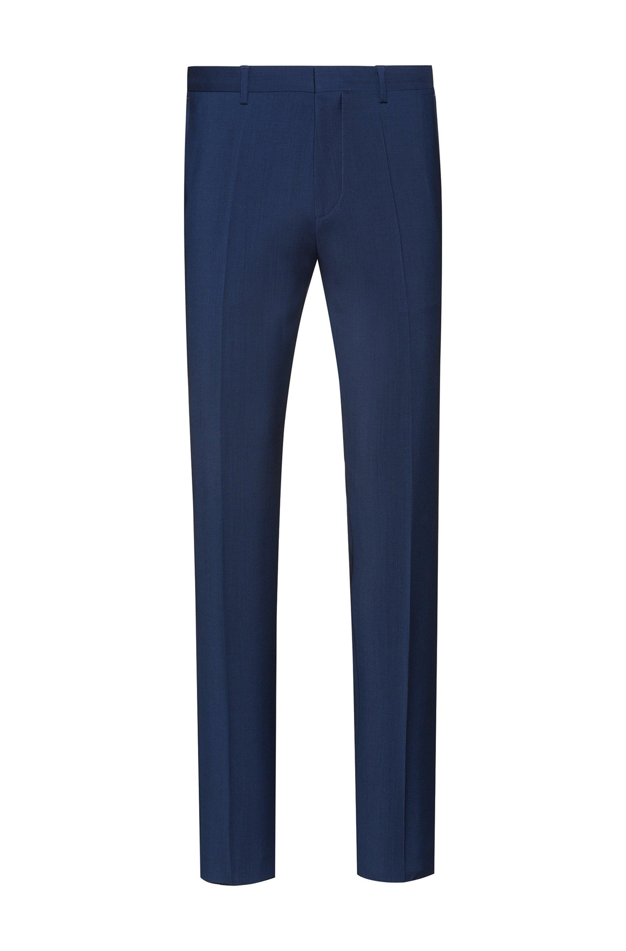 Extra-slim-fit trousers in virgin-wool poplin, Blue