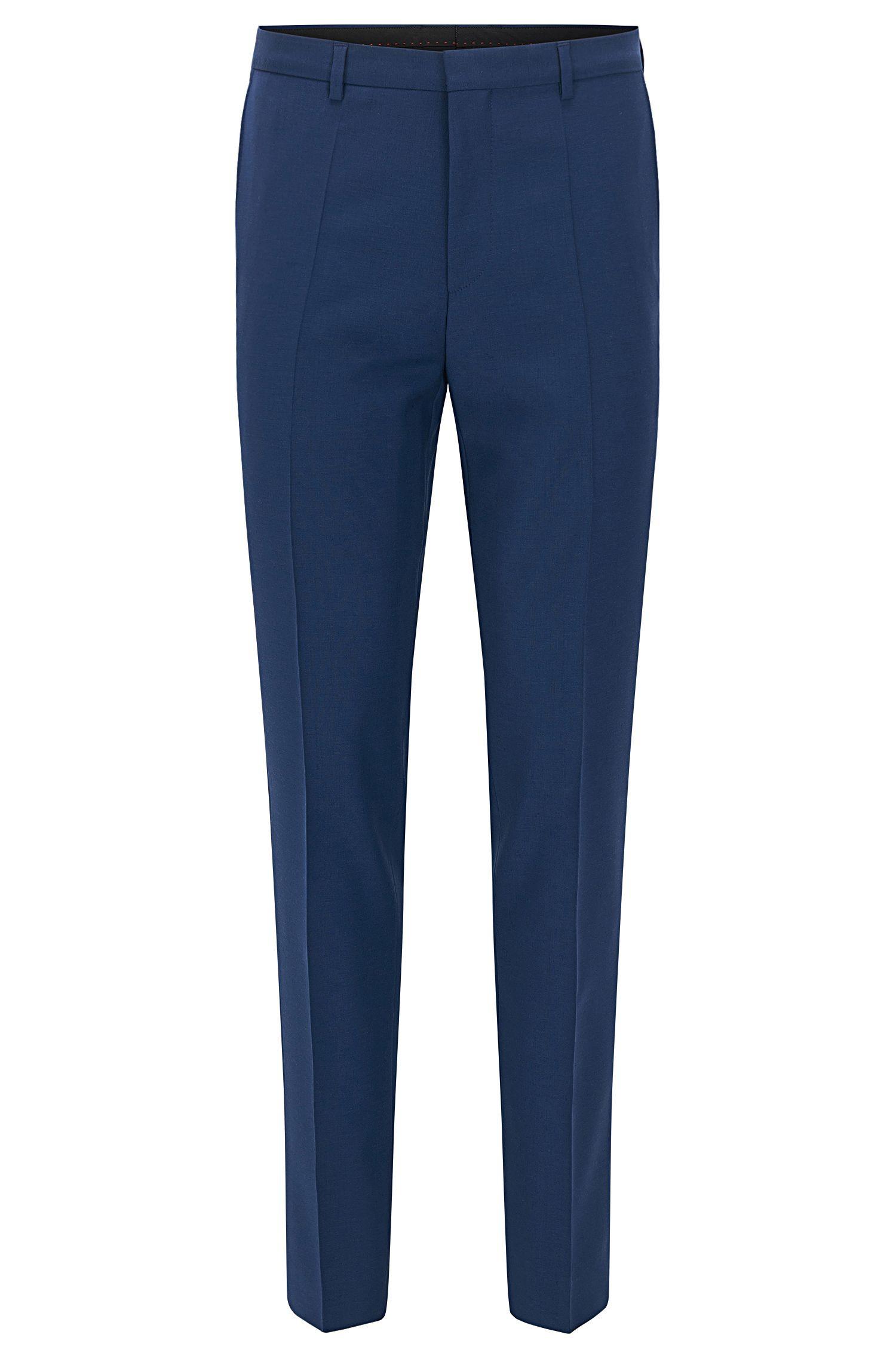 Extra slim-fit broek van scheerwol van HUGO Man, Blauw