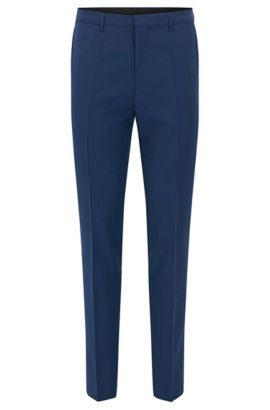 Extra-slim-fit trousers in virgin wool, Blue