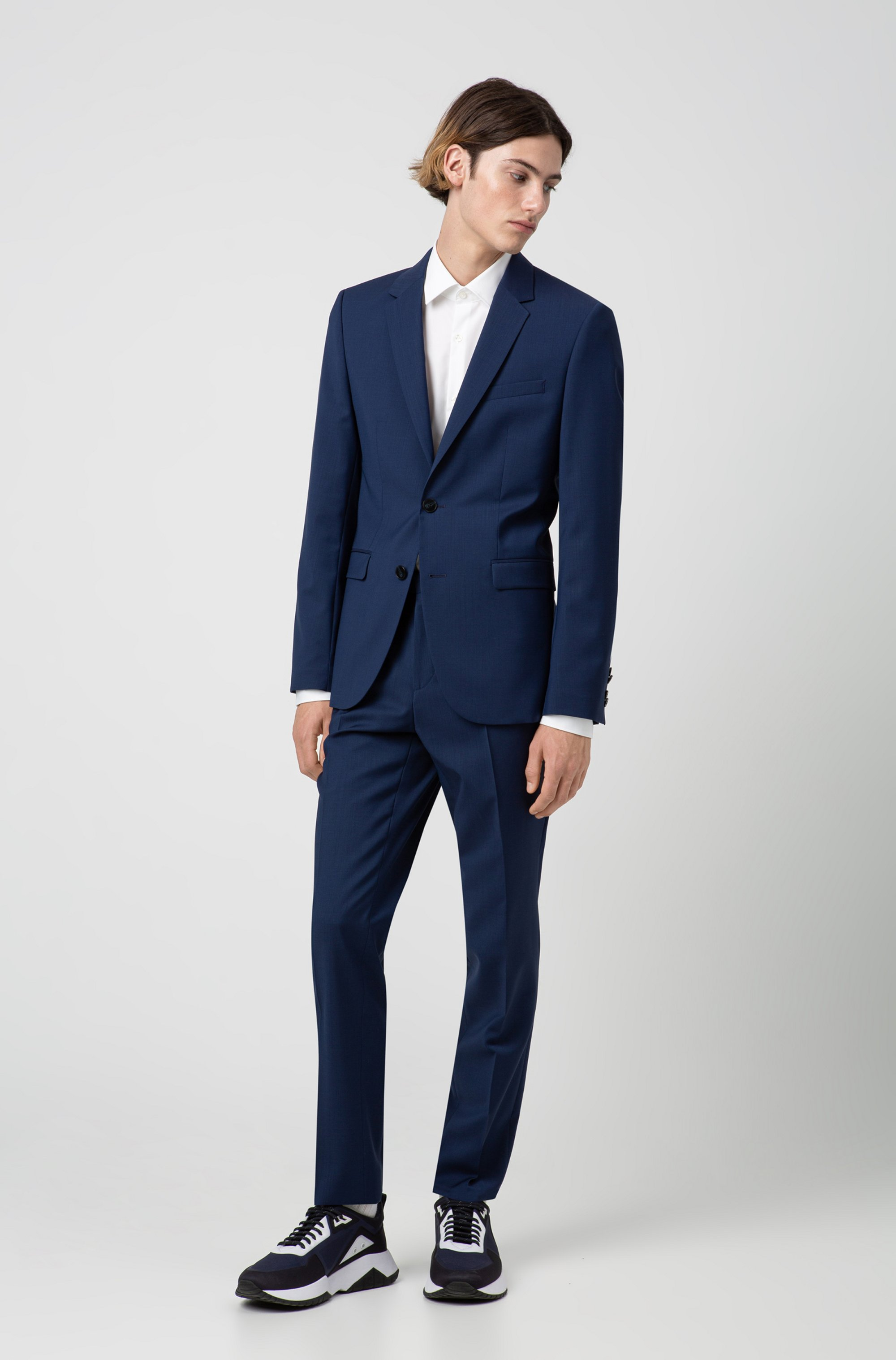 Extra-slim-fit trousers in virgin-wool poplin