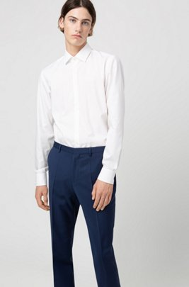 Extra-slim-fit trousers in virgin-wool poplin, Blue