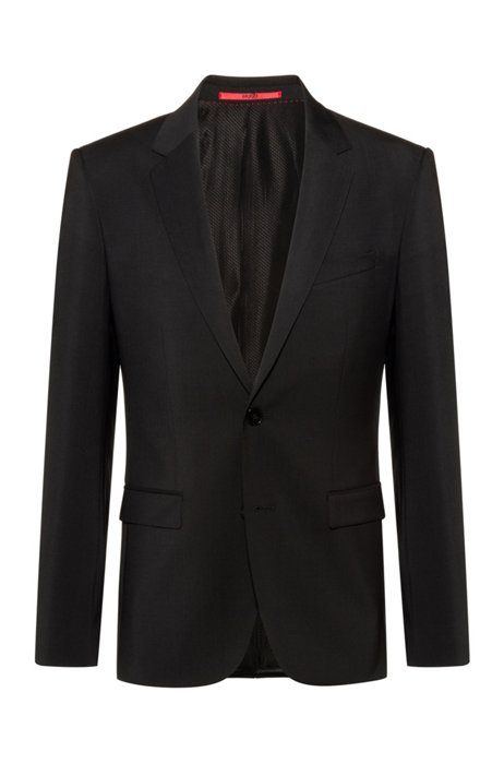Extra-slim-fit virgin-wool jacket with natural stretch, Black