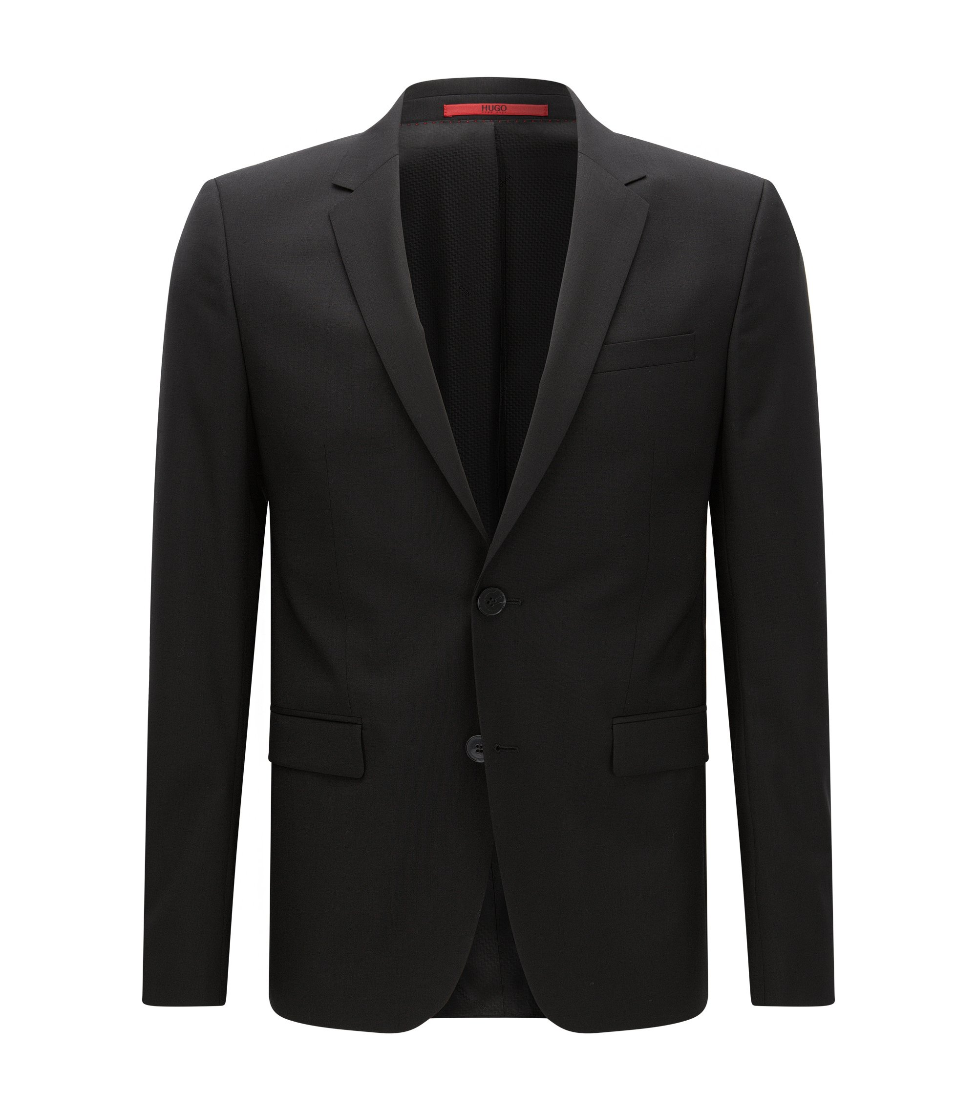 Extra-slim-fit suit jacket in virgin wool , Black
