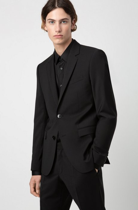 Extra-slim-fit jacket in virgin-wool poplin, Black