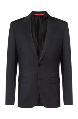 Extra-slim-fit virgin-wool jacket with natural stretch, Dark Grey
