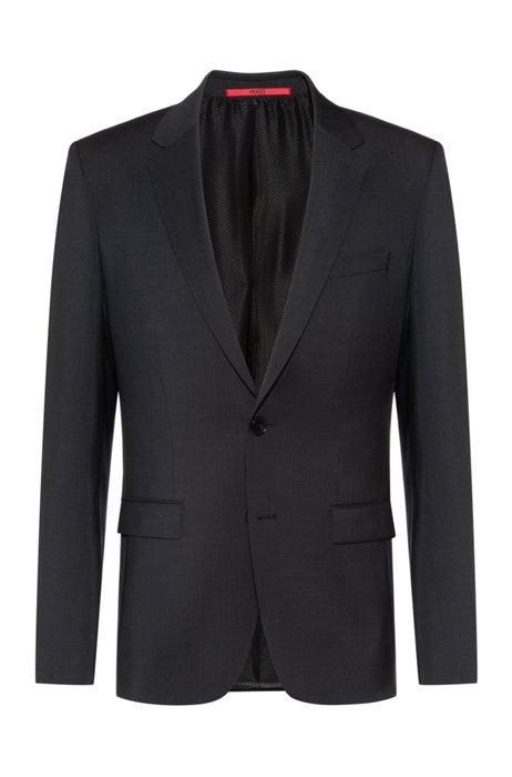Extra-slim-fit virgin-wool jacket with natural stretch, Dark Grey