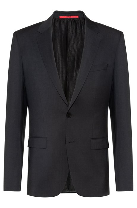 Extra-slim-fit jacket in virgin-wool poplin, Dark Grey