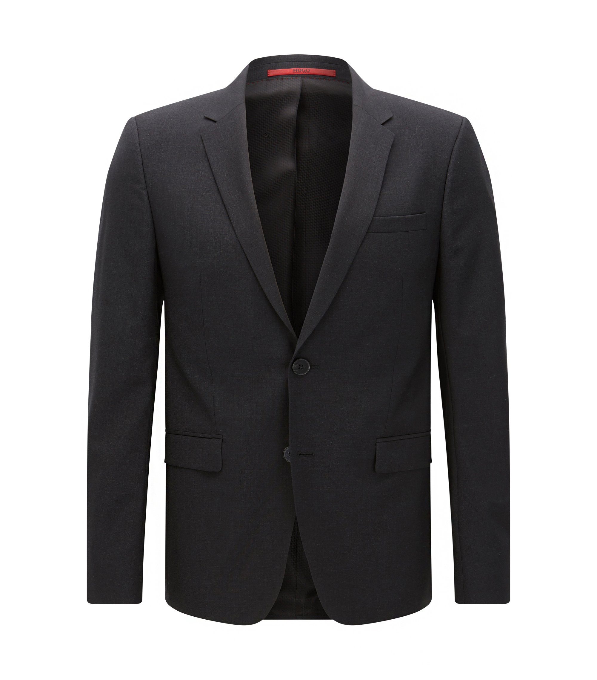 Extra-slim-fit suit jacket in virgin wool , Dark Grey