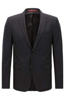 Extra-slim-fit suit jacket in virgin wool , Dark Grey