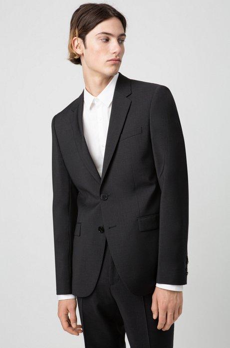 Extra-slim-fit jacket in virgin-wool poplin, Dark Grey