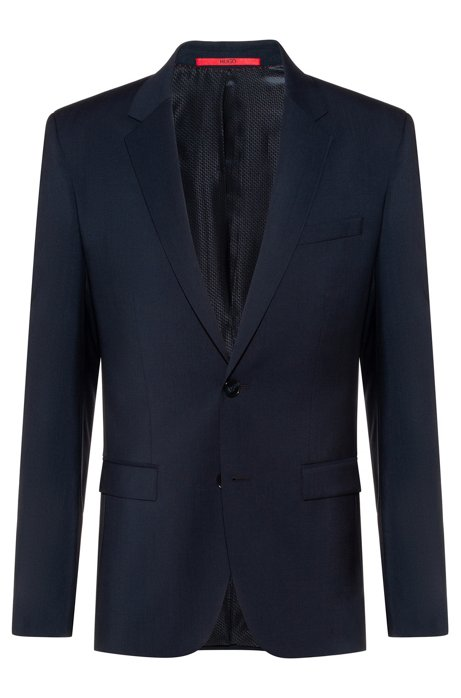 Extra-slim-fit jacket in virgin-wool poplin, Dark Blue