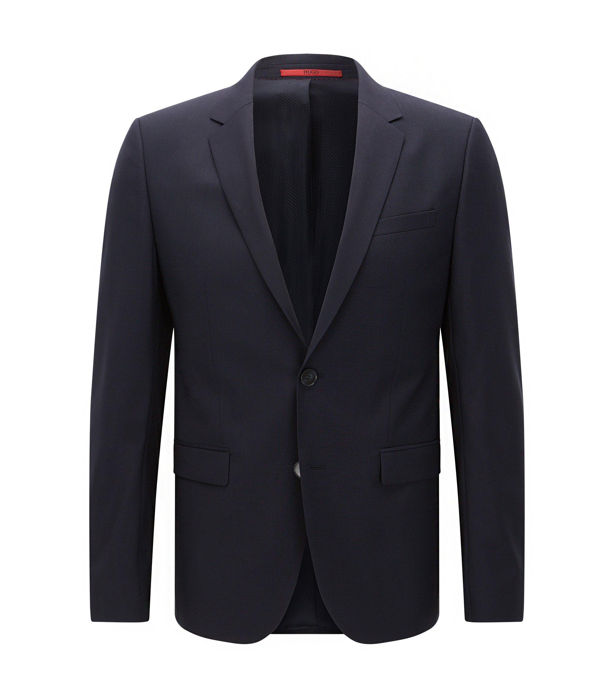 Giacca extra slim fit in lana vergine , Blu scuro