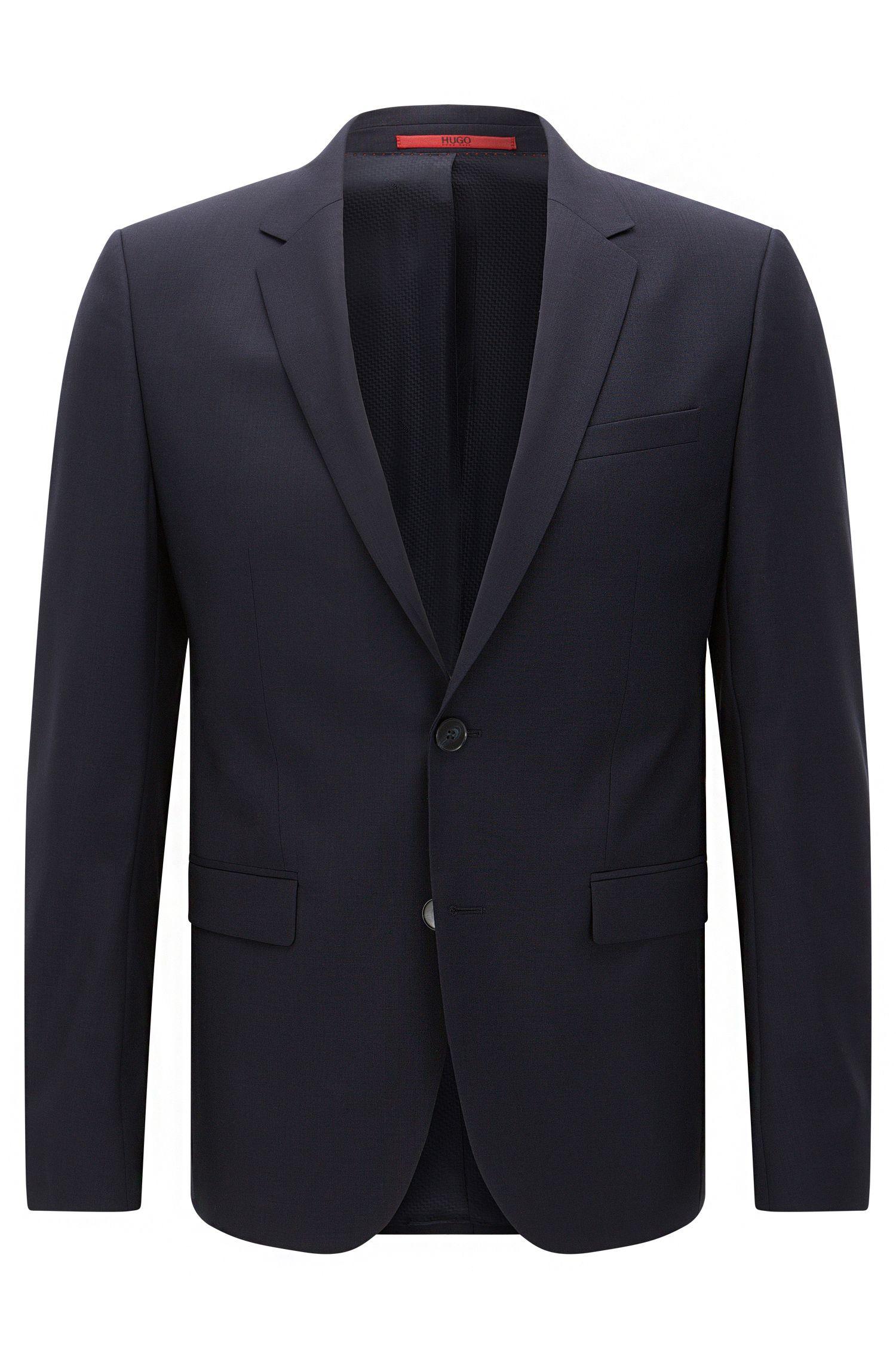 Extra-slim-fit suit jacket in virgin wool , Dark Blue