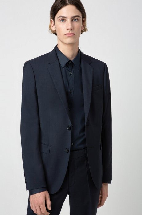 Giacca extra slim fit in popeline di lana vergine, Blu scuro