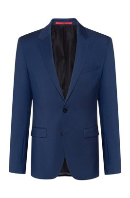 Extra-slim-fit virgin-wool jacket with natural stretch, Blue