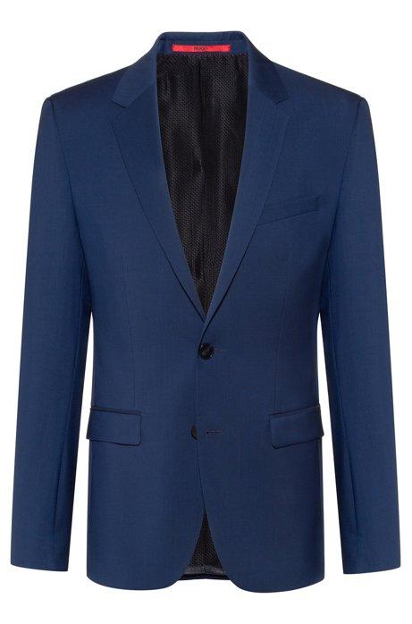 Extra-slim-fit jacket in virgin-wool poplin, Blue