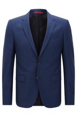 Extra-slim-fit suit jacket in virgin wool , Blue