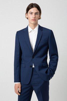 Extra Slim-Fit Sakko aus natürlich elastischer Schurwolle, Blau