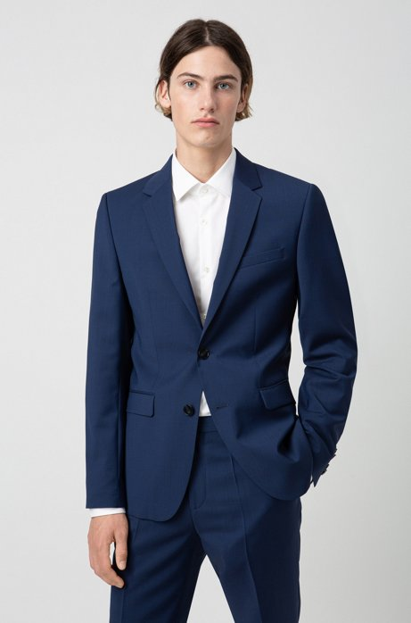 Extra-slim-fit jacket in virgin-wool poplin, Blue