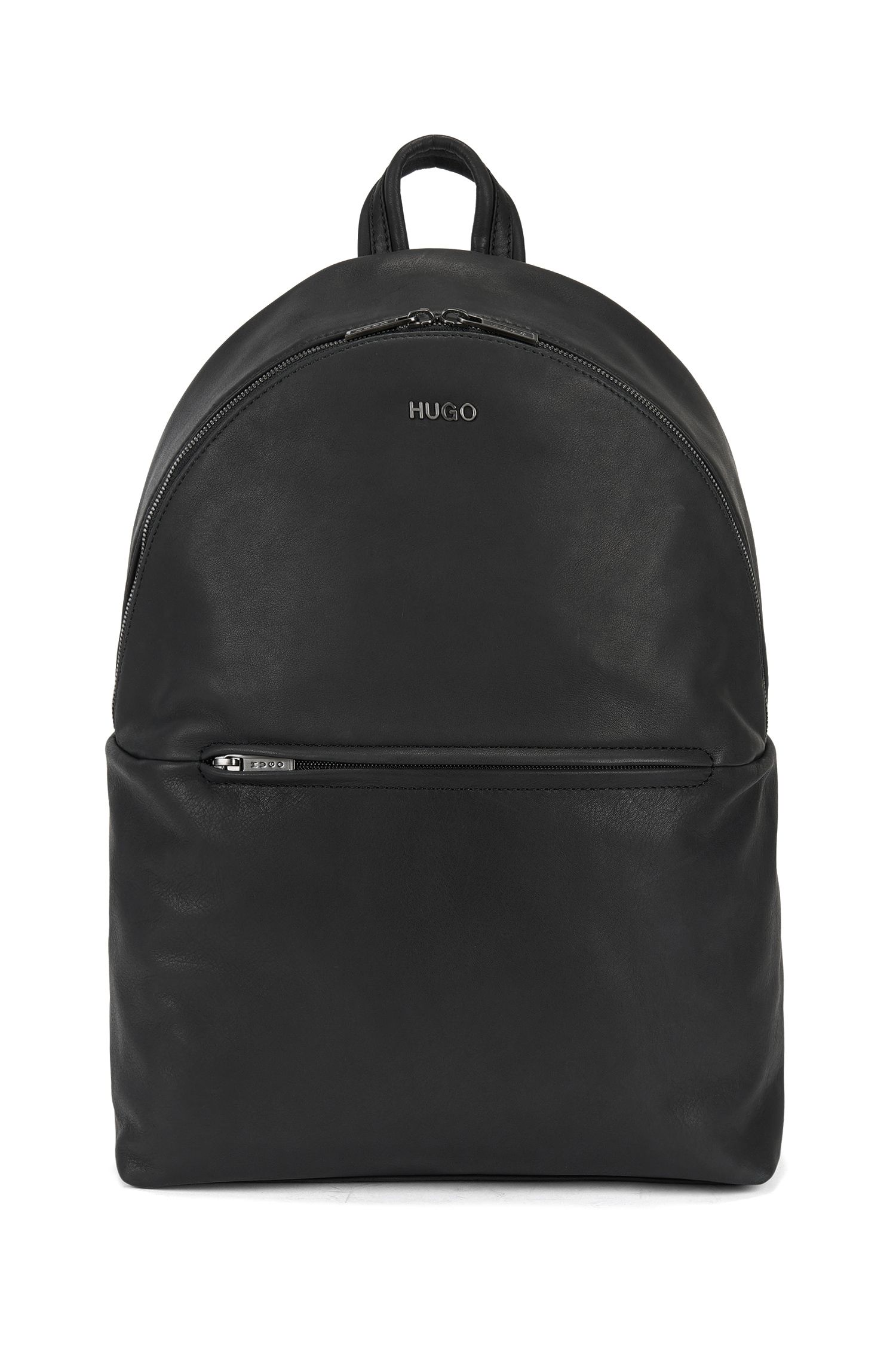 Zip-top backpack in soft leather