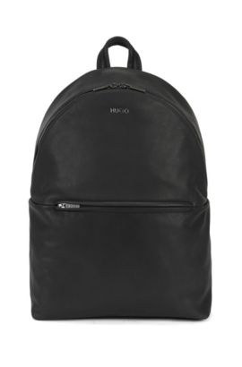 Zip-top backpack in soft leather, Black