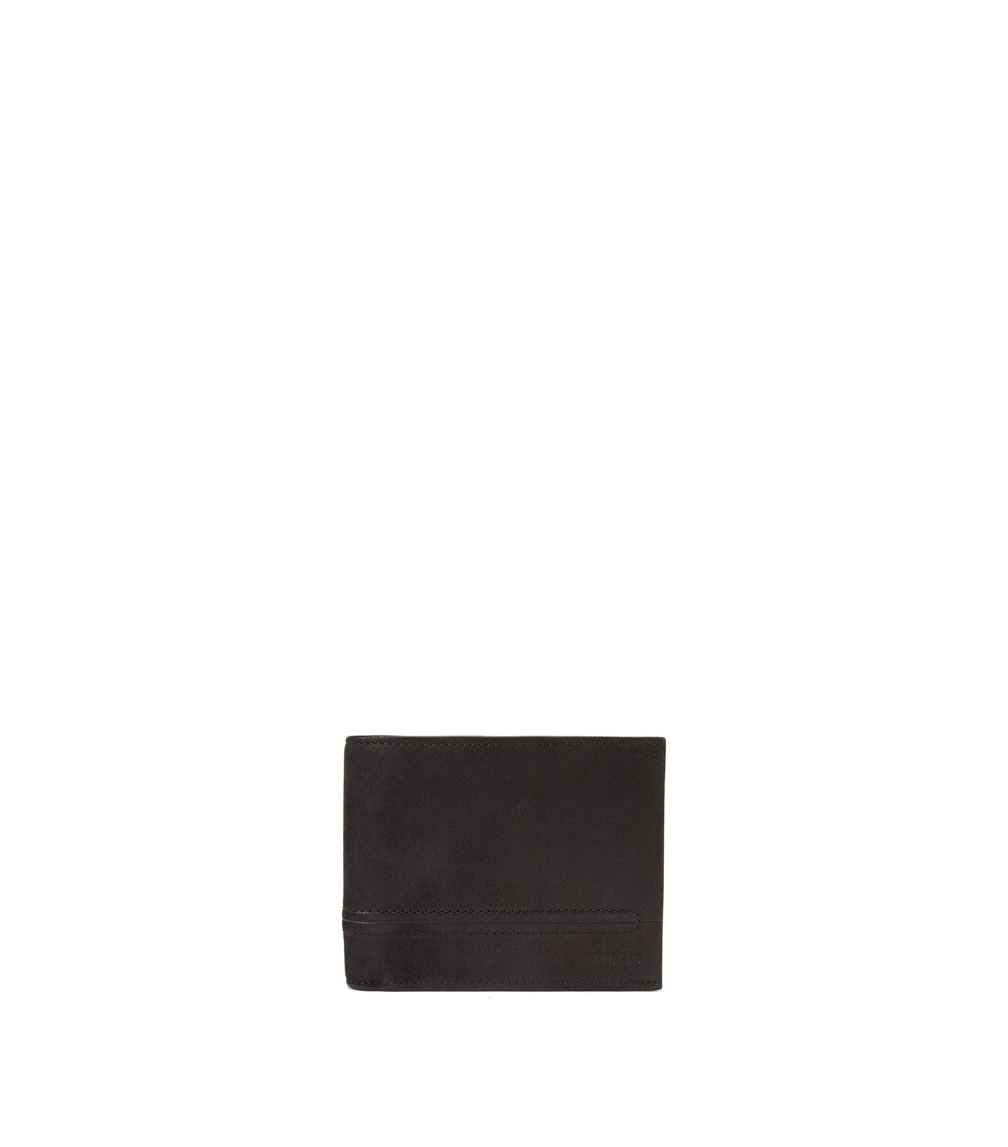Klapp-Geldbörse aus Leder mit Naht-Details , Schwarz