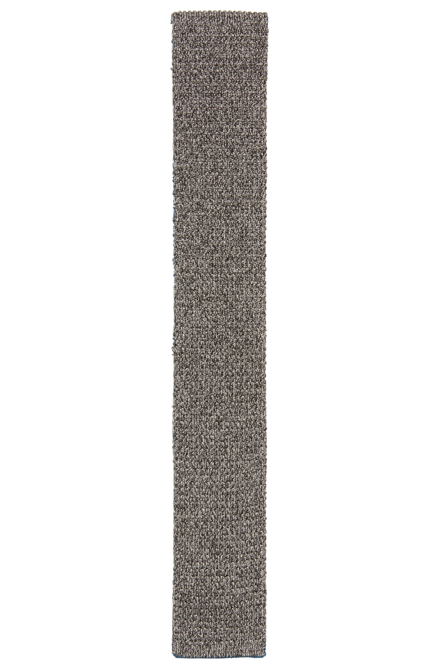 Reversible square-tipped tie in knitted silk