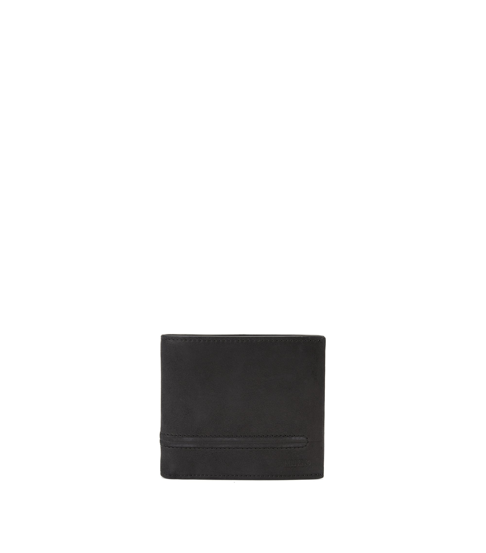 Bifold leather wallet with bombé stitching, Black