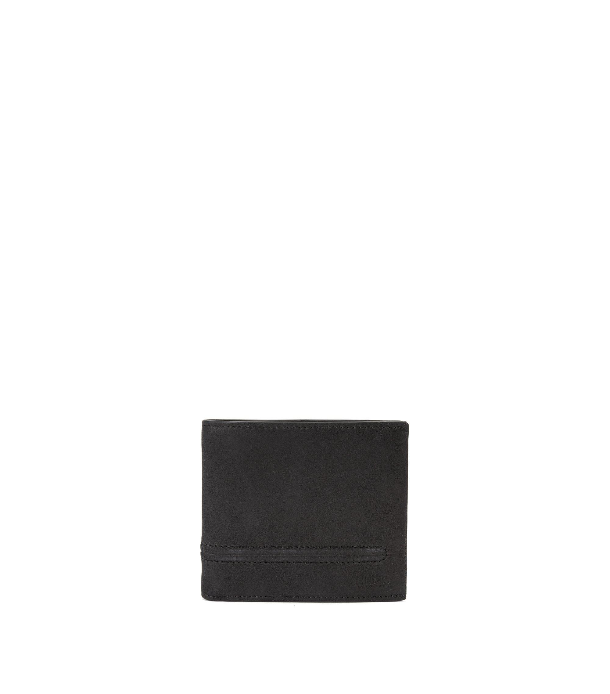 Portefeuille à deux volets en cuir, avec surpiqûre à effet bombé, Noir