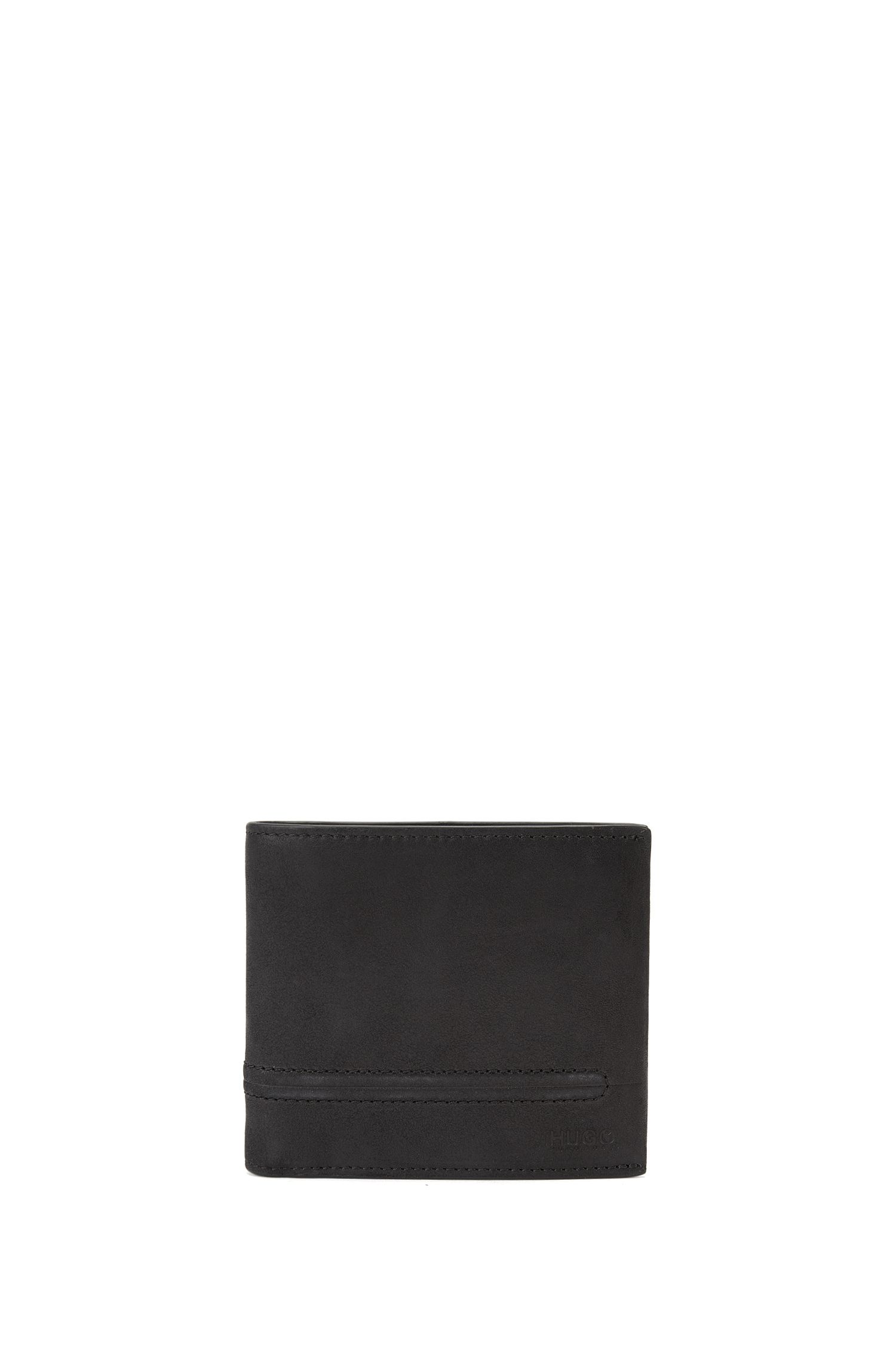 Bifold leather wallet with bombé stitching