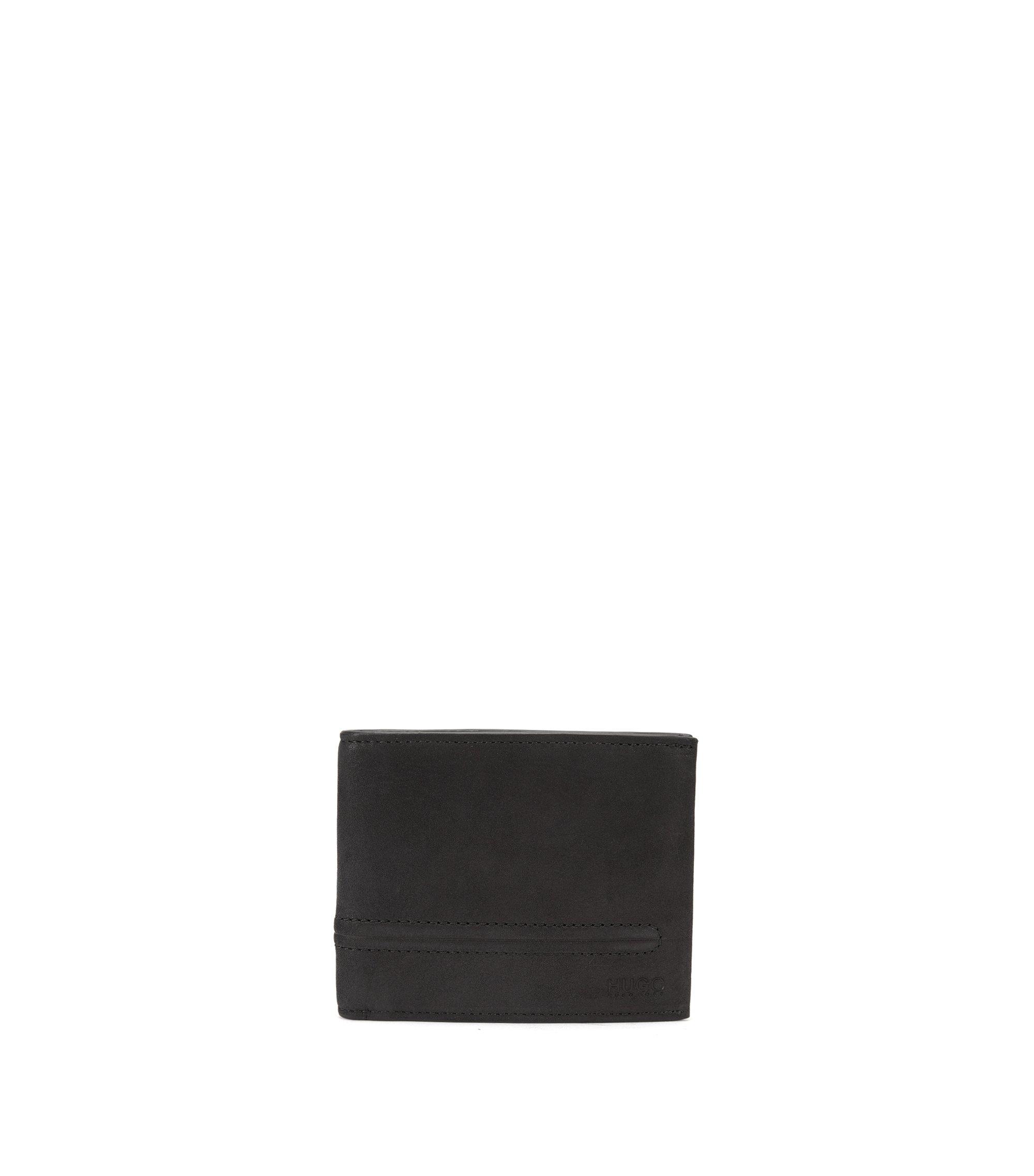 Bifold wallet in soft nubuck leather, Black